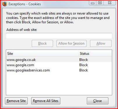 Blocked Google Cookie