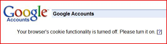 Google Cookie Warning