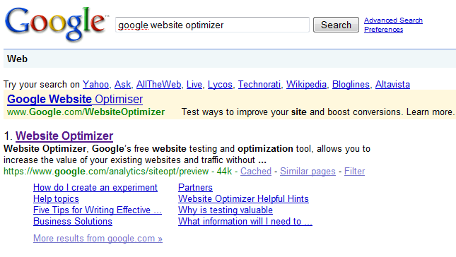 google-website-optimizer-SERPs