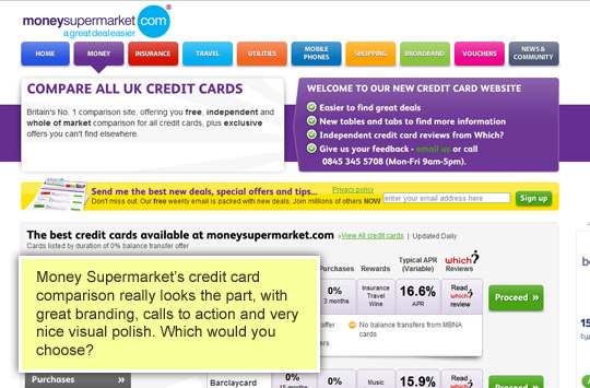 money supermarket credit card comparison