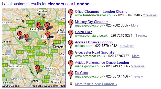 Google Local gets cleaners in london mixed up