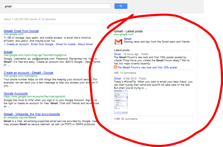 """we spotted that when searching for """"gmail"""" in Google we got this"""