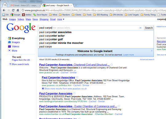Google instant Ajax search results